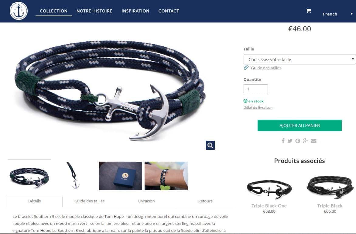 Bracelet tom hope homme cuir