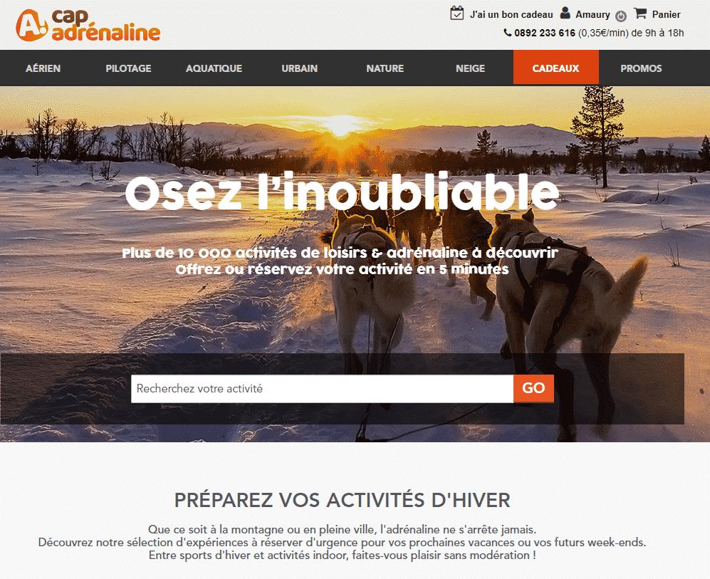 Page d'accueil du site Cap Adrénaline