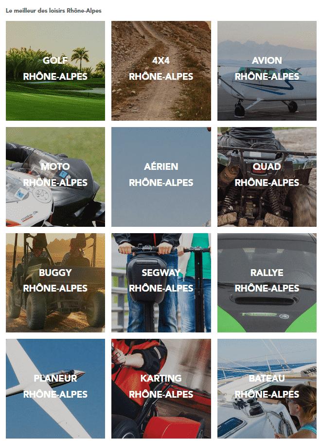 Exemple d'activités dans le Rhône-Alpes