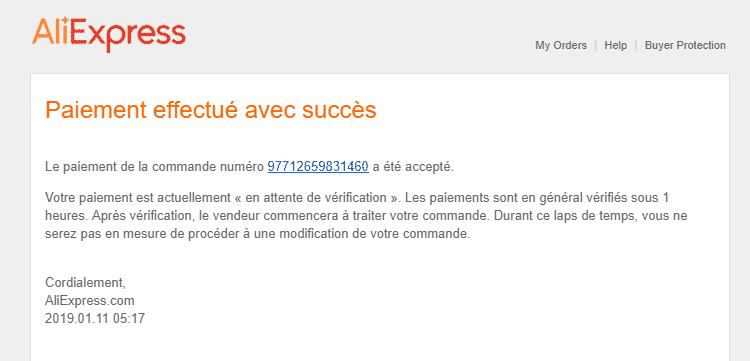 Mail de confirmation de commande - Aliexpress