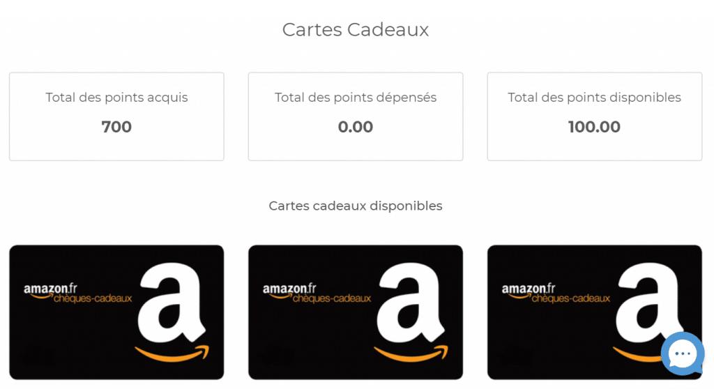 Gagner des cartes cadeaux Amazon sur Influence4you