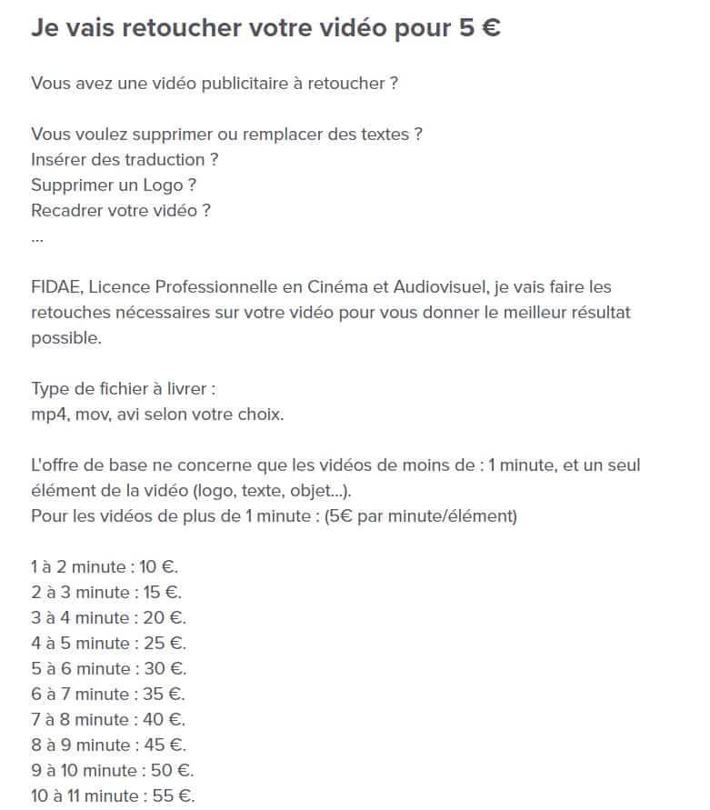Description d'un microservice sur 5euros.com