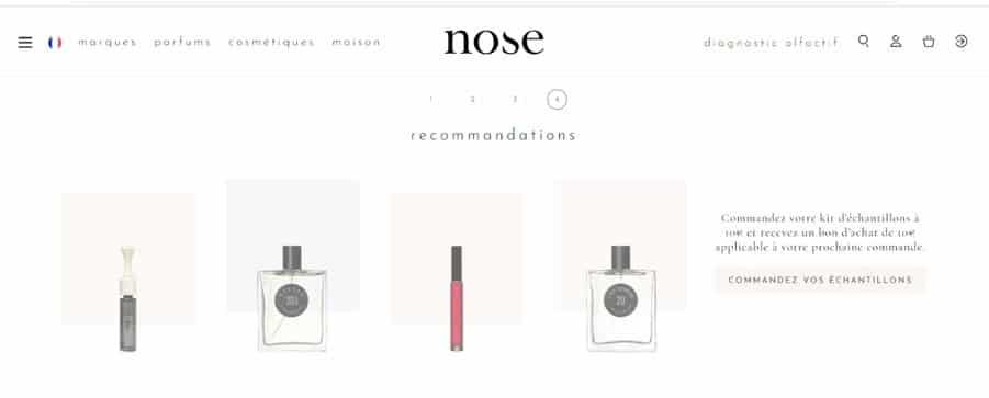 Les recommandations de Nose sur la base de mon profil olfactif