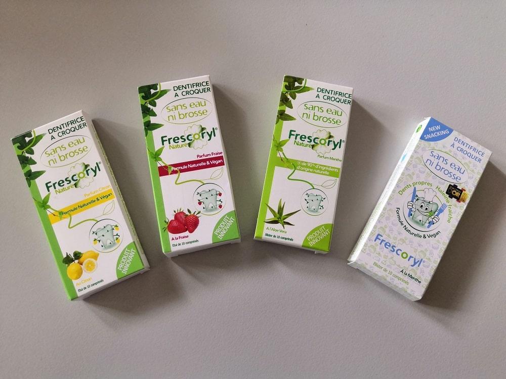Les 4 parfums du dentifrice à croquer Frescoryl