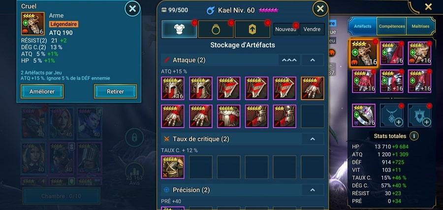 Equiper son champion avec des artefacts dans Raid Shadow legend