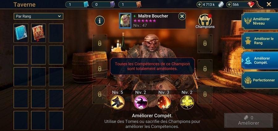 Améliorer les compétences de son champion dans Raid Shadow Legend