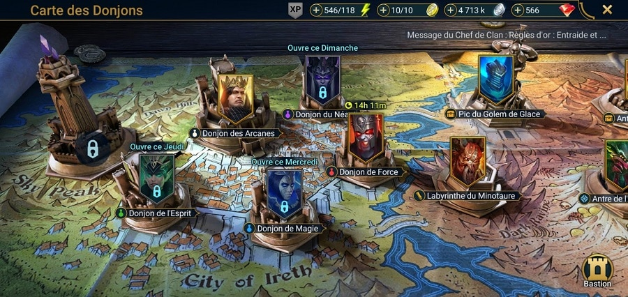 Les différents donjons dans Raid Shadow Legend