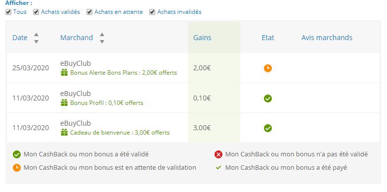 """Liste des opérations de Cashback ou bonus sur EbuyClub rubrique : """"Mon Compte"""""""