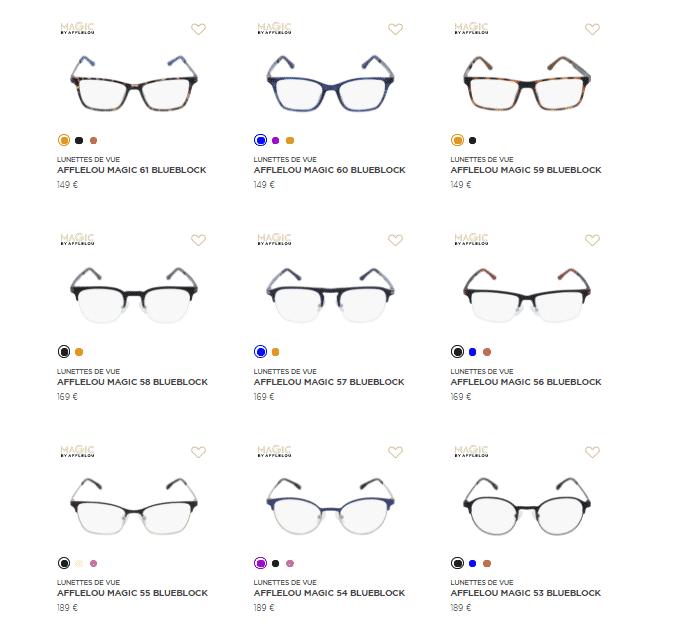 choix de montures lunettes Afflelou MAGIC